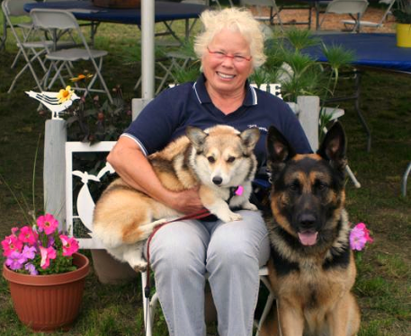 Karin Flint and her beloved dogs. Photo by Rebecca Walton / Phelps Media Group