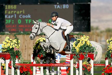 Karl Cook and Farrari, owned by Signe Ostby, jump in the $25,000 SmartPak Grand Prix on Friday, March 5, 2015, at HITS Desert Circuit VII. (c) ESI Photography
