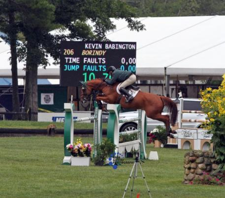 Kevin Babington and Borindy sneak into second place in the 1.40m. Photo by Anne Gittins