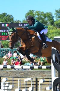 Kevin Babington and Mark Q jump at the 2014 Zoetis  Million Grand Prix in Saugerties, New York. © ESI Photography