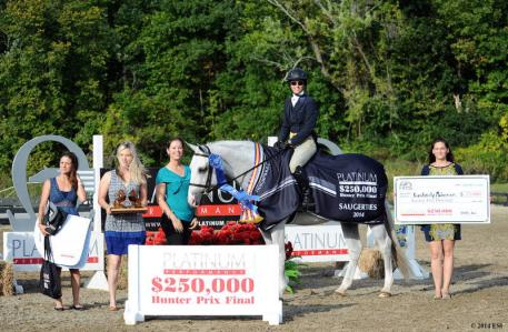 Alyssa Filipe and Emily Smith of Platinum Performance are joined by Asia Manning and Lindsay Yandon of HITS to present top honors, including a Horseware Ireland cooler and $75,000 winner's check to Kimberly Maloomian and Urlala. ©ESI Photography