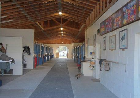 One of the barns at Knoll Dressage near Orlando, Florida