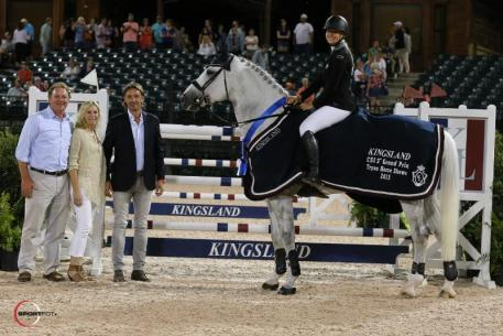 Kristen Vanderveen and Bull Run's Faustino De Tili in their presentation ceremony with Mark Bellissimo, Katherine Bellissimo, and Gianluca Caron, Kingsland Equestrian's Brand Manager for North and South America (Photo: ©Sportfot)