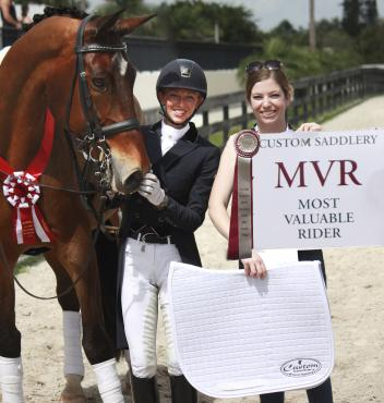Laura Graves (middle), with Verdades, wins the Custom Saddlery MVR (Most Valuable Rider) Award at the Adequan Global Dressage Festival