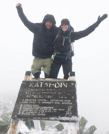 Lauren and Nate at the top of Mount Katahdin.