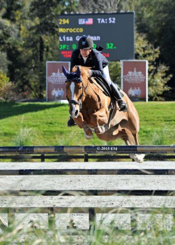 Lisa Goldman and Morocco on their way to a $25,000 SmartPak Grand Prix win at HITS Ocala. (C) ESI Photography