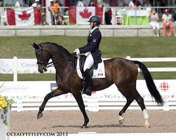 The youngest member of the Canadian Dressage Team, 24-year-old Megan Lane of Collingwood, ON, rode Caravella in her Pan Am Games debut. Photo © Cealy Tetley