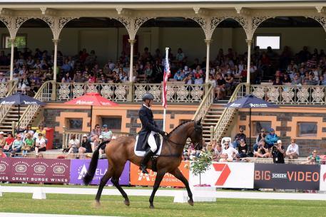 Megan Jones is in the lead after the dressage phase of FEI Classics™ at the Australian International 3 Day Event in Adelaide with Kirby Park Allofasudden - next stop Cross Country on 15 November. (Julie Wilson/FEI)