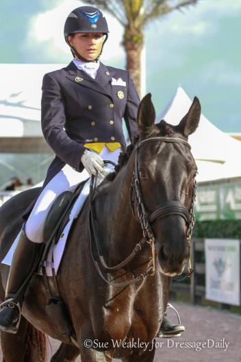 Melanie Montagano and her 15-year-old Dutch Warmblood mare (Gambol-Kaola) Ga Deva making it work at the Adequan Global Dressage Festival. Photo: Sue Weakley