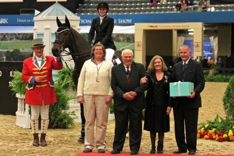 Melissa Rudershausen receiving her award for being named Show Jumping Hall of Fame Eastern Conference Amateur-Owner year-end champion last year.