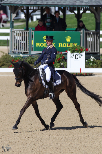 Michael Jung of Germany rode Fischerrocana FST to first place (39.9) in then first day of dressage at the Rolex Kentucky Three-Day Event. (Photo: Ben Radvani)