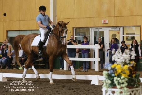 Michael Poulin rides a freestyle before auditors during Dressage Musical Freestyle Program at Pineland Farms