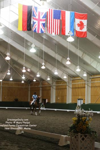 Michael Poulin in the world class Pineland Equestrian Center arena emonstrating a new freestyle as part of the Dressage Musical Freestyle Program at Pineland Farms