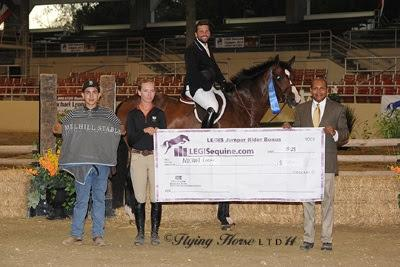 Michael Leon collects another LEGIS Hunter Rider Bonus check. Photo: Flying Horse Photography
