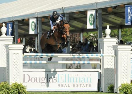 Molly Ashe-Cawley rode Carissimo to victory in the $50,000 Douglas Elliman Grand Prix Qualifier, presented by Longines. (Shawn McMillen photo)