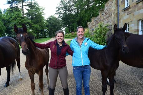 MSJ Charmer (Charmeur) and MSJ Smartini (Negro) with Emma Blundell and the foals owner Charlotte Dujardin
