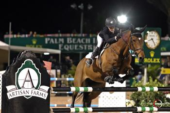 Nicole Bellissimo of the United States currently leads the Artisan Farms Under 25 Grand Prix Series heading into the Final event on Sunday morning, March 22, at the Stadium Derby Field in Wellington, FL. Photo by Sportfot