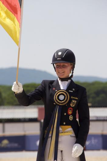 Germany's Bianca Nowag took Young Riders Team and Freestyle gold along with Individual silver at the FEI European Dressage Championships for Young Riders, Juniors and Children 2015 in Vidauban, France. (FEI/Rui Pedro Godinho)