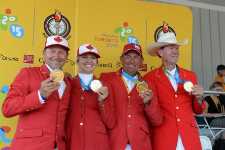 The Canadian Show Jumping Team of Yann Candele, Tiffany Foster, Eric Lamaze and Ian Millar won the gold medal at the TORONTO 2015 Pan American Games. Photo: © Diana De Rosa