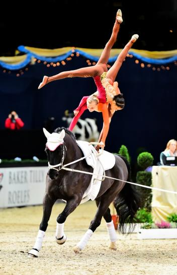 Austria's pas-de-deux dynamo Stefanie Millinger and Evelyn Freund won today's opening qualifier of the FEI World Cup™ Vaulting 2014/15 in Munich. (Daniel Kaiser/FEI)