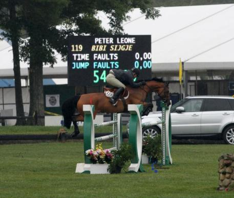 Peter Leone claims the second place spot on Bibi Sijgje in the 1.30m. Photo by Anne Gittins