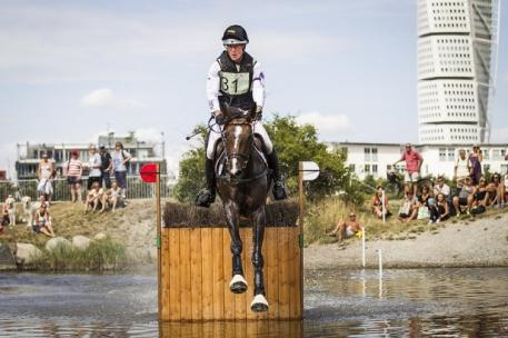 Peter Thomsen, Eventing team gold medalist at the 2008 and 2012 Olympic Games, rode Horseware's Cayenne to individual second behind his team mate Andreas Dibowski for a German victory at leg six of the FEI Nations Cup™ Eventing in the unique Swedish seaside venue at Malmö. (Lotta Gyllensten/FEI)