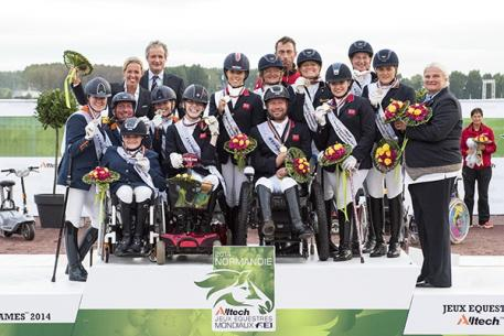 """""""Parabéns"""" - Great Britain, The Netherlands and Germany score their Rio 2016 Paralympic Games team spots at the Alltech FEI World Equestrian Games™ 2014 (Jon Stroud/FEI)"""