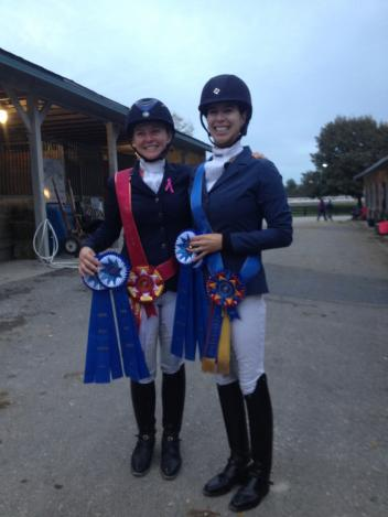 Kate Poulin with long-time student Kelly Grant at the 2014 Region 2 Championships. Grant was Champion of Training Level AA and placed third at Nationals. (Photo: Poulin Dressage)