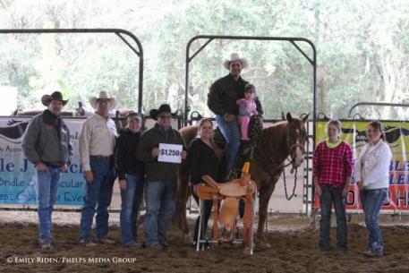 Puente was presented with a total of $2,500 and two Double C Saddlery saddles.