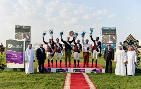 Pictured at the Furusiyya FEI Nations Cup™ Jumping 2015 qualifier in Abu Dhabi, UAE today (L to R) : Faisal Al Ali, Vice-President Emirates Equestrian Federation, Patrick Aoun, Brand Manager Longines, winning Qatari team members Ali Yousef Al Rumaihi and Khalid Al Emadi, Chef d'Equipe Willem Meeus, team member Bassem Hassan Mohammed, coach Jan Tops and team member Sheikh Ali Bin Khalid Al Thani, Stephan Ellenbruch, Foreign Judge, Saeed Mohammad Bin Hofaan Al Mansouri, Ghantoot Racing and Polo Club and Ahmad