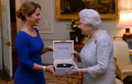 Her Majesty Queen Elizabeth II today became the first recipient of the FEI Lifetime Achievement award in recognition of her leading role as supporter of equestrian sport throughout her reign as British monarch.  (Press Association)