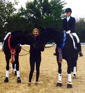 Caroline Roffman (left) and Rachel Hicks with Don Cartier and Fabio Bellini at the USDF Region 2 Championships.