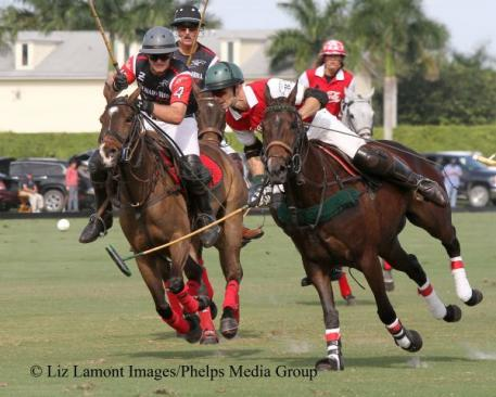 Remy Muller and Julio Arellano keep their eye on the ball. Photo: Liz Lamont Images/Phelps Media Group.