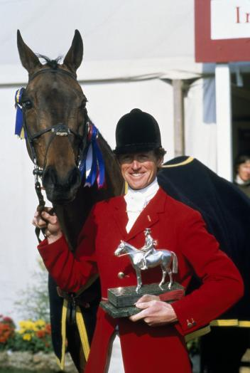 Richard Meade (GBR), triple Olympic gold Eventing champion, former member of the FEI Bureau, FEI Eventing Committee and Chairman of Group II (Northern Europe), is pictured here after winning the Badminton Horse Trials in 1982 with his horse Speculator III. He will be remembered for his life-long dedication to equestrianism. (Bob Thomas/Getty Images)