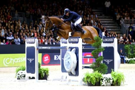 Reigning FEI European champion, Roger Yves Bost from France, steered Qoud'Coeur de la Loge to victory on home turf at the third leg of the Longines FEI World Cup™ Jumping 2014/2015 Western European League series in Lyon, France today. (FEI/Pierre Costabadie)