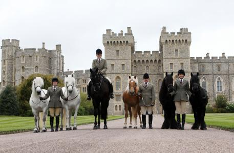 Horses from left to right: Alpine, MMangily George (named after Her Majesty the Queen's Father), Anson, Dawn and Emma (Her Majesty The Queen's Riding Pony) Grooms from left to right: Harriet White, Zoe McDonald, Christopher Allen and Sadie Henderson