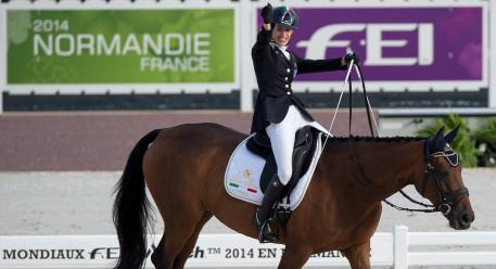Italy's Sara Morganti with Royal Delight scored a thrilling top spot at today's Round 1 Grade Ia team competition at the Alltech FEI World Equestrian Games™ 2014 (Jon Stroud/FEI)