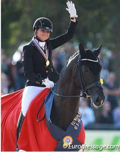 Dorothee Schneider and Sezuan win the 5-year old finals at the 2014 World Young Horse Championships in Verden Photo © Astrid Appels
