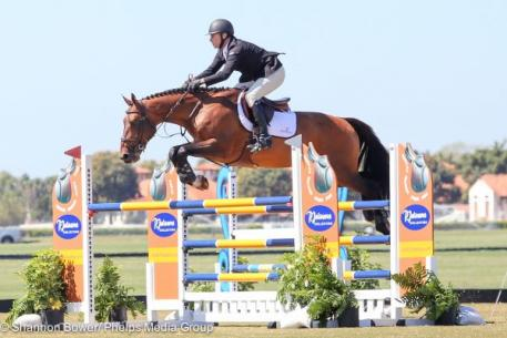 Sharn Wordley and Popstar Lozonais, winners of the Week 7 1.40m Grand Prix at IPC.