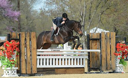 Sloane Coles and Autumn Rhythm, owned Nilani Trent, in the $5,000 Devoucoux Hunter Prix at the Commonwealth National April 18, 2015 at HITS Commonwealth Park in Culpeper, Virginia.(c) ESI Photography