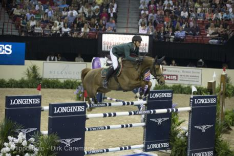 Olympic champion, Switzerland's Steve Guerdat, won the thrilling second round of the Longines FEI World Cup™ Jumping 2015 Final with Albfuehren's Paille at the Thomas & Mack arena in Las Vegas, USA tonight. (FEI/Dirk Caremans)