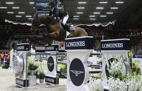 Swiss riders filled the top three placings at today's leg of the Longines FEI World Cup™ Jumping 2014/2015 Western European League series at Helsinki in Finland led by Olympic champions Steve Guerdat and Nino des Buissonnets. (FEI/Tapio Maenpaa)