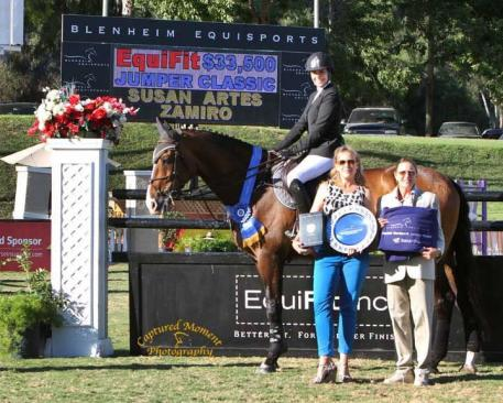 Susan Artes and Zamiro win the $32,500 Showpark Jumper Classic, presented by EquiFit, inc. Photo courtesy of CapturedMomentPhoto.com