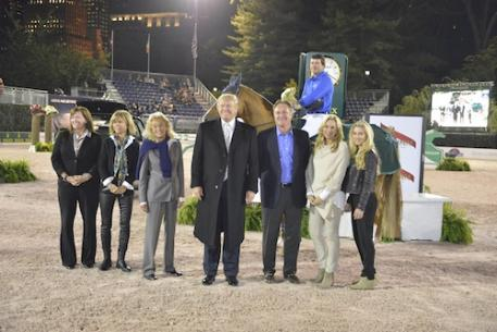 Conor Swail and Lansdowne in their presentation with Kim McCullough, Vice President of Marketing Jaguar Land Rover North America, Amy Klein of Suncast, Terry Allen Kramer, Mr. Donald Trump, and Mark, Katherine and Paige Bellissimo. Photo Credit Kit Houghton/Rolex
