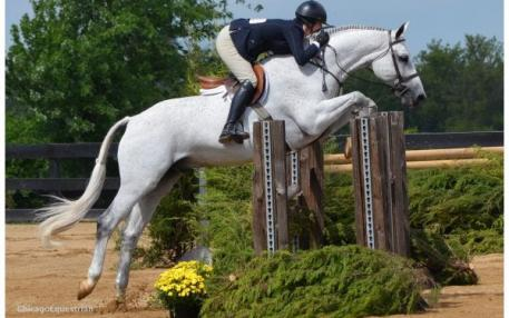 Tammy Provost and Alliy Moyer's Libretto won the $7,500 International Derby Stake. Photo by Chicago Equestrian.
