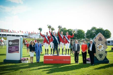 At the prize-giving for today's Furusiyya FEI Nations Cup™ Jumping 2015 Europe Division 1 qualifier at St Gallen, Switzerland where Team Belgium were victorious: (L to R) Sabrina Zeender, FEI Secretary General; Farouk Mohamad Wazeer Ali, Saudi Arabian Chargé d'affaires to Switzerland; winning Belgian team Niels Bruynseels, Pieter Devos, Dirk Demeersmann (Chef d'Equipe), Greogry Wathelet, Jos Verlooy; Markus Straub, Präsident des Kantonsrates des Kantons St. Gallen; Nayla Stössel, President of Organising Com