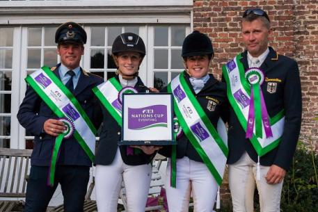 (left to right) The winning German team of Andreas Ostholt, Anna-Maria Rieke, Josefa Sommer and Andreas Dibowski claimed the honours at Waregem (BEL), penultimate leg of the FEI Nations Cup™ Eventing 2014 (Photo: EventingPhoto.com/FEI).