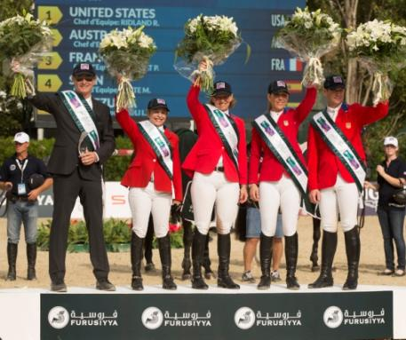 Team USA won the Challenge Cup at the Furusiyya FEI Nations Cup™ Jumping Final 2014 in Barcelona, Spain today (L to R) Chef d'Equipe Robert Ridland with Margie Engle, Beezie Madden, Lauren Hough and McLain Ward. (FEI/Dirk Caremans)