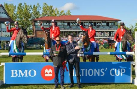 The Canadian team in their winning presentation with Frank Techar, Chief Operating Officer, BMO Financial Group. Photos © Spruce Meadows Media Services.