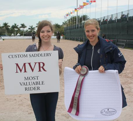 Laura Tomlinson (right) receives the Custom Saddlery Most Valuable Rider (MVR) Award at the 2015 Adequan Global Dressage Festival